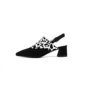 voordelige Damesinstappers & loafers-Dames Loafers & Slip-Ons Blokhak Leer Lente Zwart / Goud