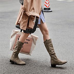 billige Mote Boots-Dame Støvler Blokker hælen Rund Tå Fuskelær Støvletter Vintage / minimalisme Vinter Brun / Kakifarget