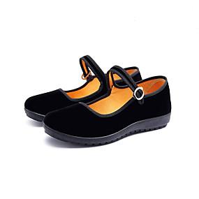 voordelige Damesschoenen met platte hak-Dames Platte schoenen Platte hak Ronde Teen Imitatieparel Katoen Informeel / Zoet Lente & Herfst Zwart / Feesten & Uitgaan
