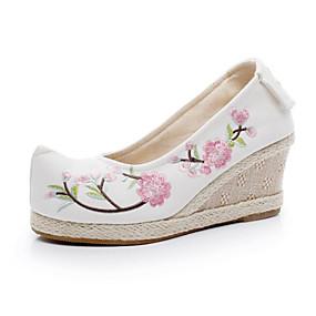 voordelige Damesinstappers & loafers-Dames Loafers & Slip-Ons Sleehak Gepuntte Teen Katoen Chinoiserie Lente zomer Wit / Blauw