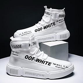 baratos Tênis Masculino-Homens Sapatos Confortáveis Tecido elástico Primavera Verão Esportivo Tênis Respirável Preto / Branco