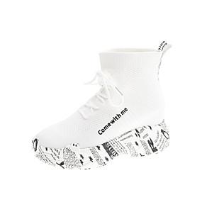 voordelige Damessneakers-Dames Sneakers Creepers Ronde Teen Elastische stof / Tissage Volant Herfst / Lente zomer Wit / Zwart