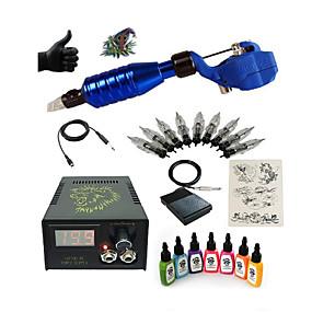 povoljno Početnički setovi za tetoviranje-BaseKey Tattoo Machine Starter Kit - 1 pcs Tattoo Machines s 7 x 15 ml tetovaža tinte, Profesionalna LCD napajanja No case 1 x čelika
