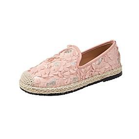 voordelige Damesschoenen met platte hak-Dames Platte schoenen Platte hak Ronde Teen Imitatieparel Linnen / Netstof Informeel / Zoet Zomer Zwart / Beige / Roze / Feesten & Uitgaan