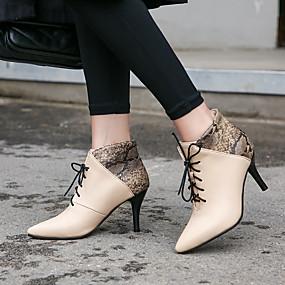 billige Mote Boots-Dame Støvler Stiletthæl Spisstå Fuskelær Ankelstøvler Fritid / minimalisme Vår & Vinter Svart / Vin / Mandel / Fest / aften / Fargeblokk