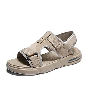 baratos Sandálias Masculinas-Homens Sapatos Confortáveis Couro de Porco Verão Casual Sandálias Caminhada Respirável Preto / Bege / Verde Tropa