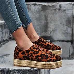 voordelige Damesschoenen met platte hak-Dames Platte schoenen Platte hak Ronde Teen Suède Zomer Zwart / Grijs / Luipaard / Luipaard
