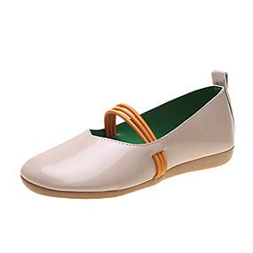 baratos Mocassins Femininos-Mulheres Sapatos de Barco Salto Baixo Ponta Redonda Couro Ecológico Primavera Verão Preto / Branco / Bege