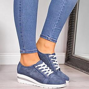 billige Sneakers til damer-Dame Treningssko Flat hæl Rund Tå PU Sommer Svart / Grønn / Blå