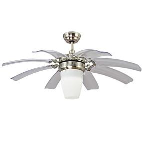 hesapli Tavan Fanları-ecolight ™ led tavan fanı ışık / modern tavan lambası nikel metal cam yemek odası yatak odası için 110-120 v / 220-240 v ampul dahil / led entegre