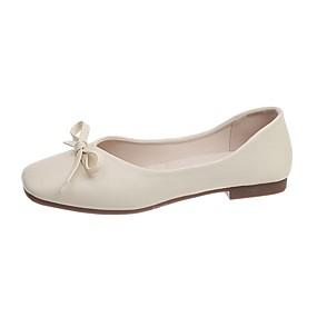 voordelige Damesschoenen met platte hak-Dames Platte schoenen Blokhak Vierkante Teen PU Zomer Groen / Geel / Beige