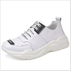 baratos Sapatos Esportivos Masculinos-Homens Sapatos Confortáveis Couro Envernizado Verão Tênis Respirável Preto / Branco