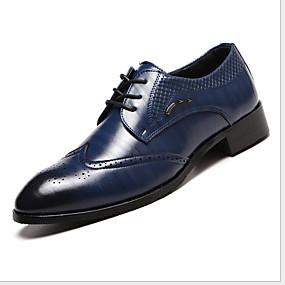 baratos Oxfords Masculinos-Homens Sapatos Confortáveis Couro Ecológico Verão Oxfords Respirável Preto / Marron / Vinho