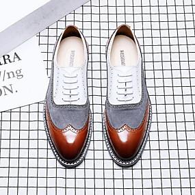 baratos Oxfords Masculinos-Homens Sapatos Confortáveis Couro Sintético Verão Oxfords Estampa Colorida Branco / Marron