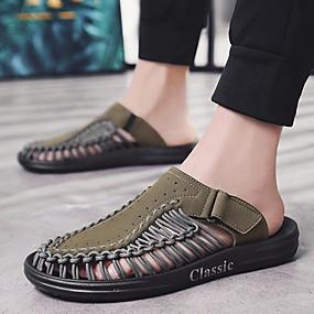 baratos Sandálias e Chinelos Masculinos-Homens Sapatos Confortáveis Microfibra Verão Chinelos e flip-flops Preto / Khaki