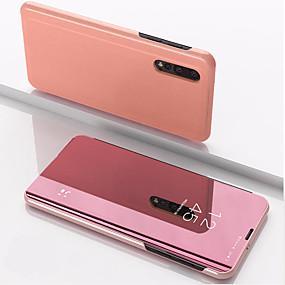 billige Telefonetuier-Etui Til Xiaomi Xiaomi Redmi Note 5 / Xiaomi Redmi Note 7 / Xiaomi Mi 9 med stativ / Speil Heldekkende etui Ensfarget PU Leather / PC