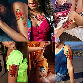 voordelige tattoo stickers-6 vellen grote tijdelijke tatoeages bloem papier sexy body tattoo sticker voor vrouwen& meisje nep tattoo (lelie perzik pruim pioen)