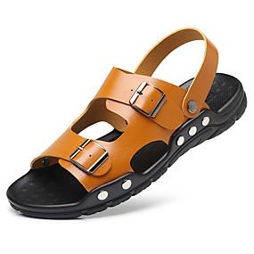 baratos Sandálias Masculinas-Homens Sapatos Confortáveis Microfibra Primavera Verão Sandálias Preto / Branco / azul / Branco