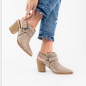 billige Mote Boots-Dame Støvler Flat hæl Spisstå PU Ankelstøvler Sommer Svart / Beige / Grå