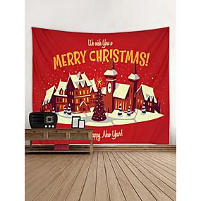 halpa Seinämaalaukset-Christmas / Loma Wall Decor Polyesteri Nykyaikainen / Uusivuosi Wall Art, Seinävaatteet Koriste