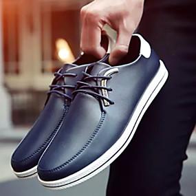 baratos Oxfords Masculinos-Homens Sapatos Confortáveis Couro Ecológico Verão Oxfords Preto / Marron / Azul Escuro