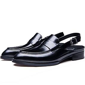 baratos Tamancos Masculinos-Homens Sapatos de couro Couro Verão Tamancos e Mules Preto / Vinho