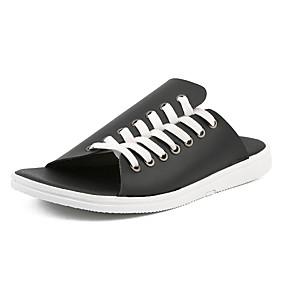 baratos Sandálias e Chinelos Masculinos-Homens Sapatos Confortáveis Couro Ecológico Verão Chinelos e flip-flops Preto / Branco