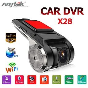 billige Nyankomne i september-anytek x28 dash cam fhd 1080p bil dvr 150 grader vidvinkel bil dvr gps videoopptaker med wifi / mini / g-sensor / adas / loop-opptak / montion deteksjon