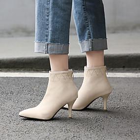billige Mote Boots-Dame Støvler Stiletthæl Spisstå Semsket lær Ankelstøvler minimalisme Høst vinter Svart / Rød / Beige / Fest / aften