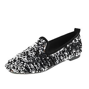 voordelige Damesschoenen met platte hak-Dames Platte schoenen Platte hak Ronde Teen Pailletten Synthetisch Informeel / Zoet Herfst Zwart / Zilver / Regenboog
