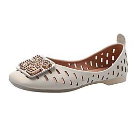 voordelige Damesschoenen met platte hak-Dames Platte schoenen Platte hak Vierkante Teen Sprankelend glitter Imitatieleer Studentikoos / minimalisme Herfst Geel / Beige