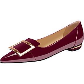 voordelige Damesschoenen met platte hak-Dames Platte schoenen Lage hak Gepuntte Teen PU Lente & Herfst Zwart / Rood Licht / Wijn