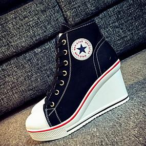voordelige Damessneakers-Dames Sneakers Sleehak Ronde Teen Canvas Zomer Zwart / Lichtblauw / Wit