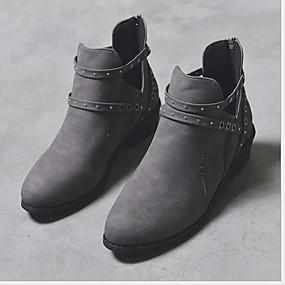 billige Mote Boots-Dame Støvler Lav hæl Rund Tå Lerret Ankelstøvler Vår & Vinter Svart / Brun / Grå