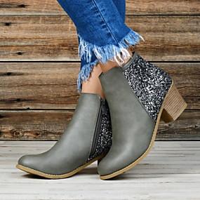 billige Mote Boots-Dame Støvler Lav hæl Rund Tå PU Ankelstøvler Høst vinter Svart / Mandel / Grå