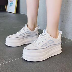 voordelige Damessneakers-Dames Sneakers Platte hak Ronde Teen Leer Zomer Licht Grijs / zwart / wit