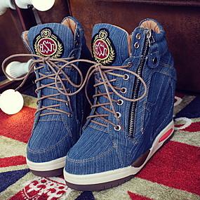 voordelige Damessneakers-Dames / Unisex Sneakers Platte hak Ronde Teen Denim Zomer Blauw