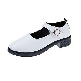 voordelige Damesschoenen met platte hak-Dames Platte schoenen Blokhak Ronde Teen PU minimalisme Herfst Zwart / Wit