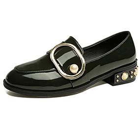 voordelige Damesschoenen met platte hak-Dames Platte schoenen Blok hiel Ronde Teen Kralen / Gesp Lakleer Studentikoos / minimalisme Lente zomer / Herfst winter Zwart / Wit / Groen