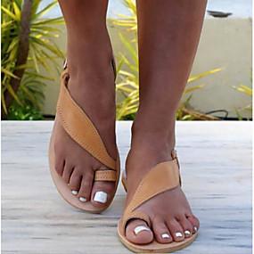 voordelige Damesschoenen met platte hak-Dames Platte schoenen Platte hak Open teen Gesp PU Informeel / minimalisme Lente zomer Zwart / Bruin / Goud