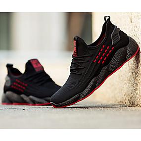 hesapli Erkek Atletik Ayakkabıları-Erkek Ayakkabı Tissage Volant İlkbahar yaz / Sonbahar Kış Sportif Atletik Ayakkabılar Koşu / Yürüyüş Dış mekan için Dikişli Dantel Siyah / Siyah / Beyaz / Çizgili / Zıt Renkli