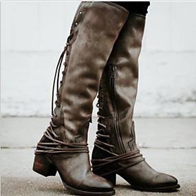 billige Mote Boots-Dame Støvler Tykk hæl Rund Tå PU Knehøye støvler Høst vinter Svart / Brun / Grå