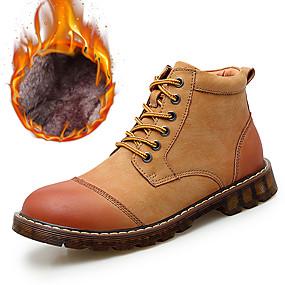 baratos Botas Masculinas-Homens Sapatos de couro Pele Inverno Clássico / Casual Botas Caminhada Manter Quente Botas Curtas / Ankle Preto / Marron / Cinzento