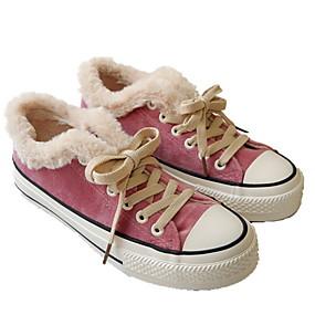 voordelige Damessneakers-Dames Sneakers Platte hak Ronde Teen Suède Winter Zwart / Luipaard / Paars