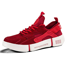 baratos Tênis Masculino-Homens Sapatos Confortáveis Couro de Porco / Tissage Volant Primavera Verão Casual Tênis Respirável Preto / Vermelho / Cinzento