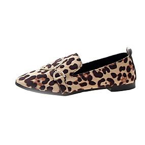 voordelige Damesinstappers & loafers-Dames Loafers & Slip-Ons Platte hak Ronde Teen Canvas Herfst winter Zwart / Luipaard / Beige