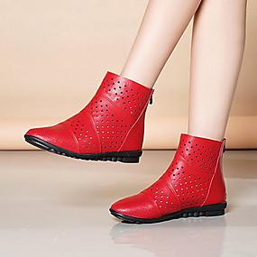 billige Mote Boots-Dame Støvler Flat hæl Spisstå PU Ankelstøvler Fritid Høst vinter Svart / Rød