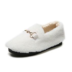 voordelige Damesinstappers & loafers-Dames Loafers & Slip-Ons Platte hak Ronde Teen Imitatiebont Herfst winter Zwart / Wit / Khaki