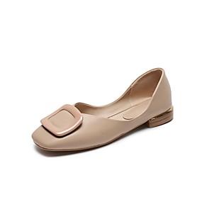 voordelige Damesschoenen met platte hak-Dames Platte schoenen Blokhak Vierkante Teen Microvezel Lente & Herfst Licht Groen / Roze / Beige