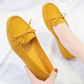voordelige Damesschoenen met platte hak-Dames Platte schoenen Platte hak Ronde Teen Leer / PU Herfst Zwart / Geel / Bordeaux